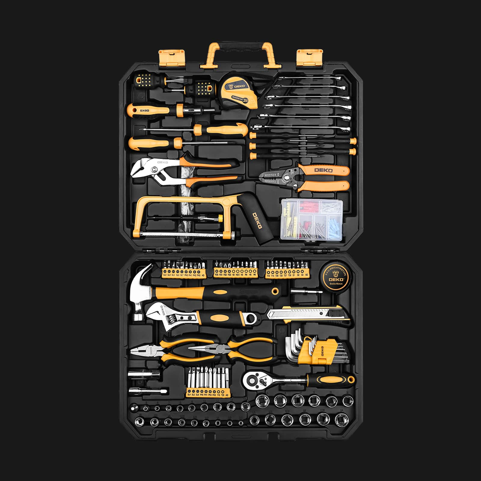 DEKO 198 Piece Home Repair Tool Kit,General Household Hand Tool Set with Wrench Plastic Toolbox