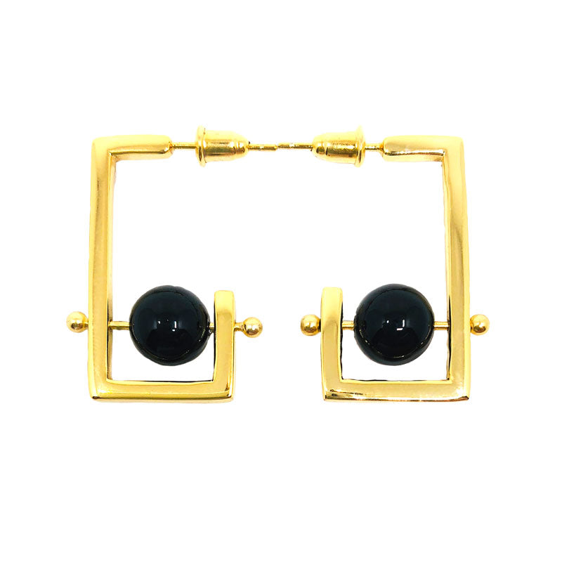 Stonetown Square Earrings -  Black Agate