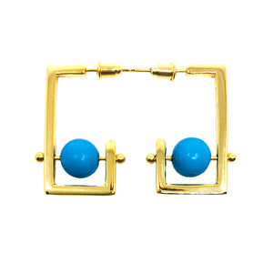 Stonetown Square Earrings -  Blue Turquoise