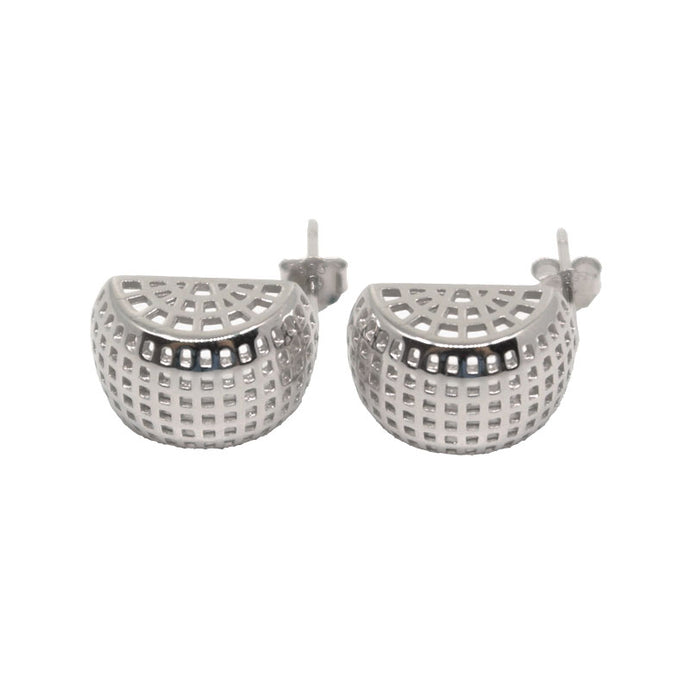 Coral Stud Earrings - White Gold Plated