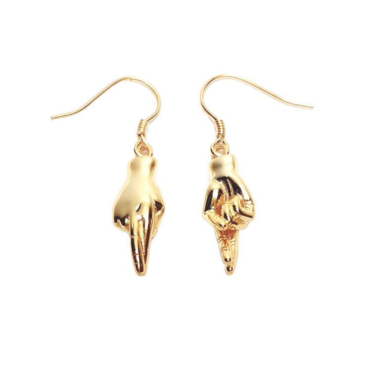 Fingers Crossed Earrings - Gold Plated