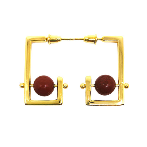 Stonetown Square Earrings -  Red Agate