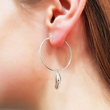 Antwerp Hand Hoop Earrings - White Gold Plated - Big Hands