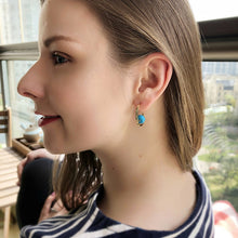 Stonetown Oval Earrings -  Blue Turquoise