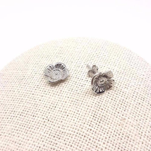 Poppy Studs Earrings - White Gold Plated