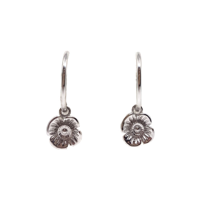 Poppy Hoops Earrings - White Gold Plated