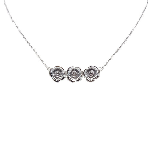 Poppy Necklace - White Gold Plated