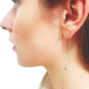 Antwerp Hand Chain Earrings - White Gold Plated - Small Hands