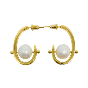 Stonetown Oval Earrings - Natural Pearl - LIMITED EDITION