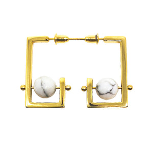 Stonetown Square Earrings -  Marble