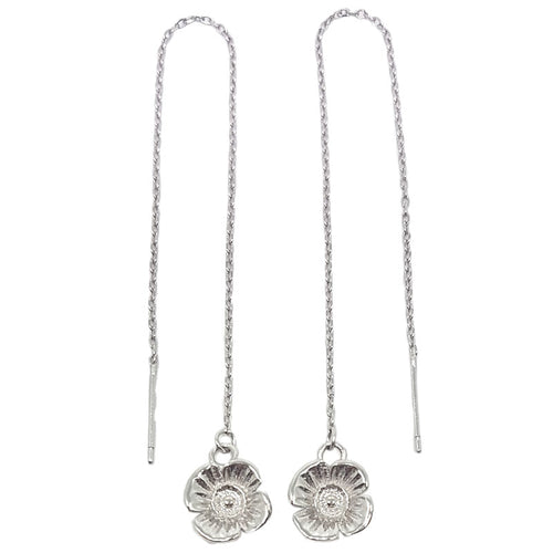 Poppy Chain Earrings - White Gold Plated