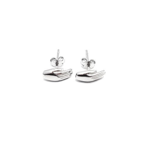 Antwerp Hand Studs Earrings - White Gold Plated - Small Hands