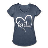 Faith Tri-Blend V-Neck T-Shirt - navy heather