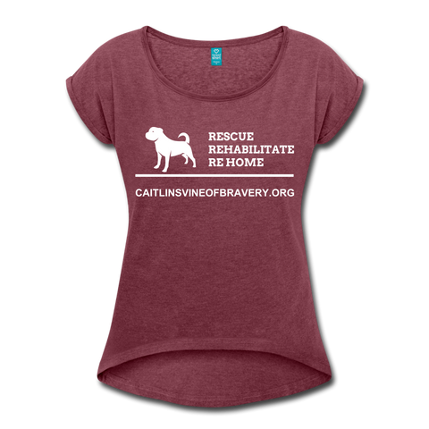 Rescue Women's Roll Cuff T-Shirt - heather burgundy