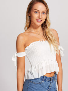 Knot Sleeve Crop Shirred Top