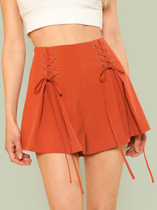 Grommet Lace Up Side Pleated Shorts
