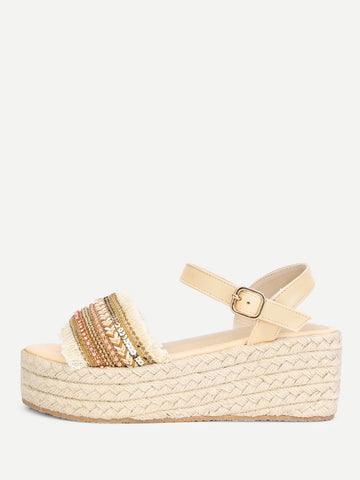 Raw Trim Wedge Sandals