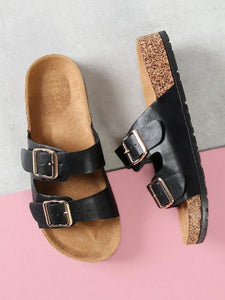 Double Buckle Slide Sandal
