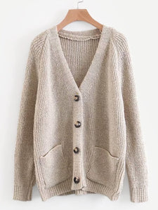 Solid Button Front Raglan Sleeve Cardigan