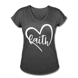 Faith Tri-Blend V-Neck T-Shirt - deep heather