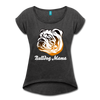 Bulldog Mama Women's Roll Cuff T-Shirt - heather black