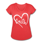 Faith Tri-Blend V-Neck T-Shirt - heather red