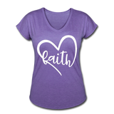 Faith Tri-Blend V-Neck T-Shirt - purple heather