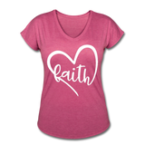 Faith Tri-Blend V-Neck T-Shirt - heather raspberry