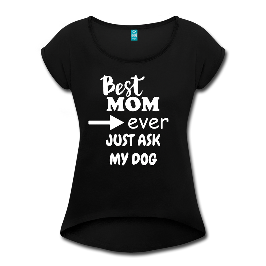 BEST MOM EVER Women's Roll Cuff T-Shirt - heather black