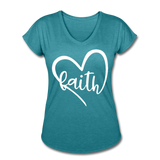 Faith Tri-Blend V-Neck T-Shirt - heather turquoise