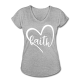 Faith Tri-Blend V-Neck T-Shirt - heather gray
