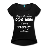 Stay At Home Dog Mom Women's Roll Cuff T-Shirt - black