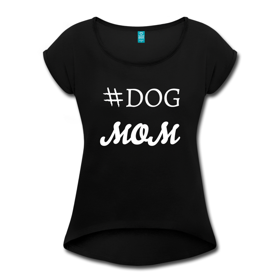 # Dog MOM Women's Roll Cuff T-Shirt - heather black