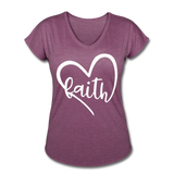 Faith Tri-Blend V-Neck T-Shirt - heather plum