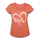 Faith Tri-Blend V-Neck T-Shirt - heather bronze