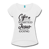 coffee gets me started, Jesus keeps me going Roll Cuff T-Shirt - white