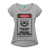 Beware Women's Roll Cuff T-Shirt - heather gray