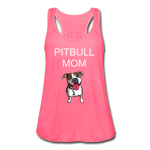 PITBULL MOM TANK Women's Flowy Tank Top by Bella - neon pink