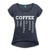 Coffee Women's Roll Cuff T-Shirt - navy heather