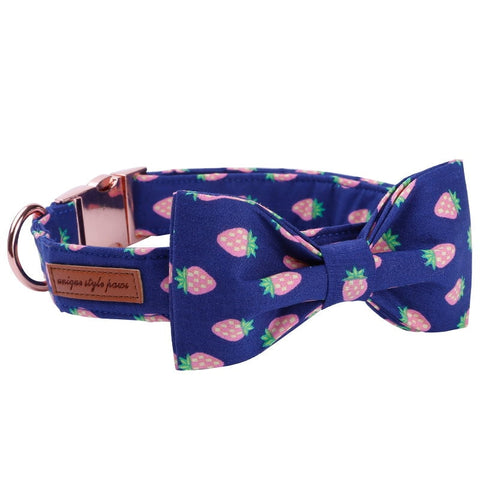 Strawberry Dog Collar, Bowtie and Leash