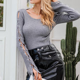 Sleeve Lace Up Sweater