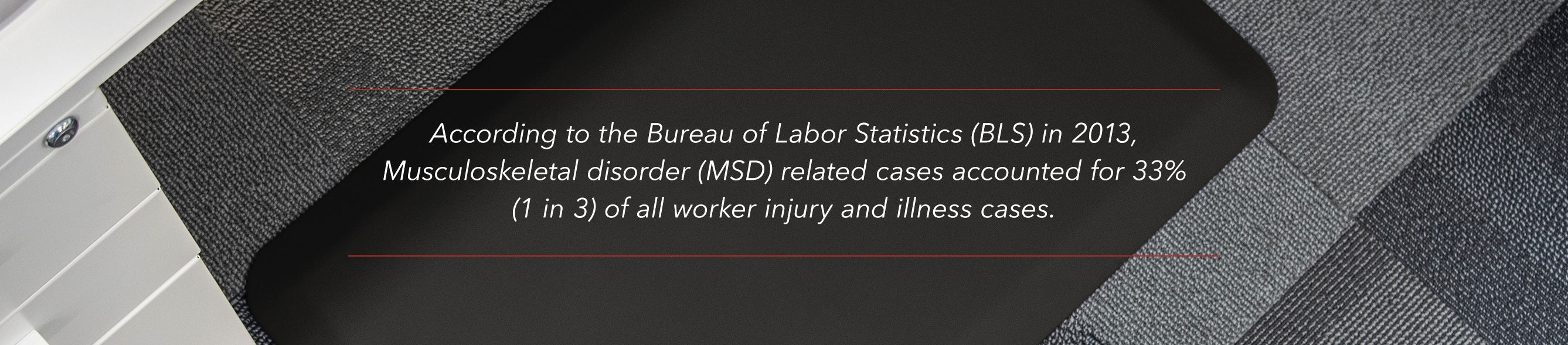 According to the Bureau of Labor Statistics in 2013, Musculoskeletal disorder related cases accounted for 33% of all worker injury and illness cases.