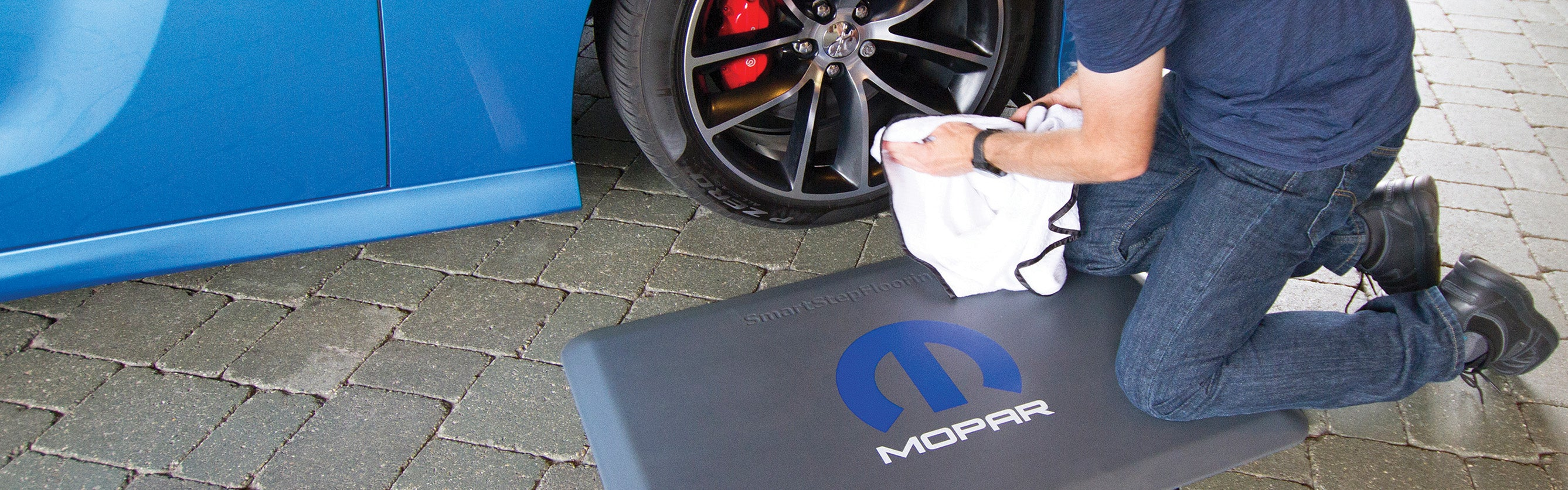 Mopar Logo Decal on Smart Step Premium Performance Mat