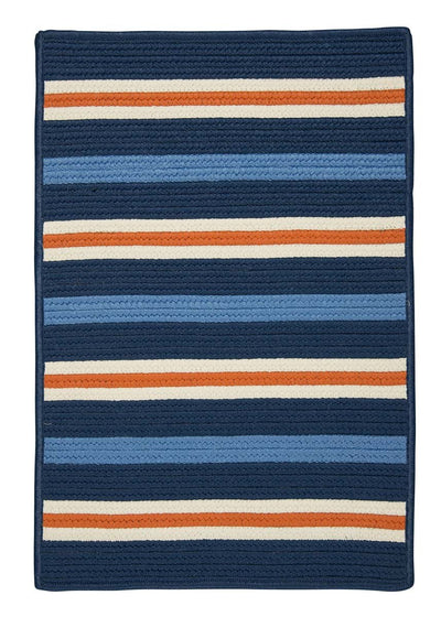 Painter Stripe PS41 Set Sail Blue Braided Rug by Colonial Mills