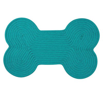 Dog Bone Solid H049 Turquoise Braided Rug by Colonial Mills