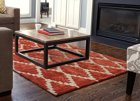 Handmade Rust Orange Trellis Rug With Cream Diamonds | Beautiful Cotton, Jute & Bamboo Viscose Rug - Select Area Rugs