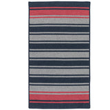 Frazada Stripe FZ59 Navy/Red Braided Wool Rug by Colonial Mills