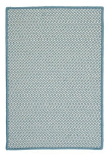 Outdoor Houndstooth Tweed OT56 Sea Blue Braided Rug by Colonial Mills