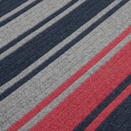 Frazada Stripe FZ59 Navy/Red Braided Wool Rug by Colonial Mills - Select Area Rugs