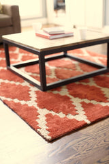 Handmade Rust Orange Trellis Rug With Cream Diamonds | Beautiful Cotton, Jute & Bamboo Viscose Rug